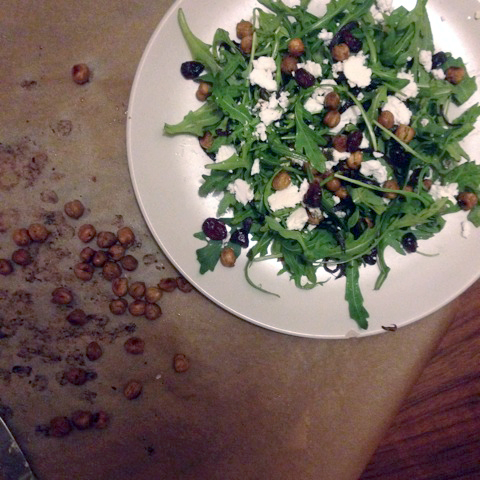 (v) Arugula Salad with Balsamic-glazed Onions, Roasted Chickpeas, and Goat Cheese